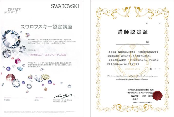 一般社団法人 日本グルーデコ協会認定講師講座はスワロフスキー認定講座です